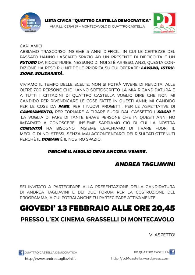 GIOVEDI' 13 FEBBRAIO - Assemblea Pubblica per la presentazione della candidatura di Andrea Tagliavini