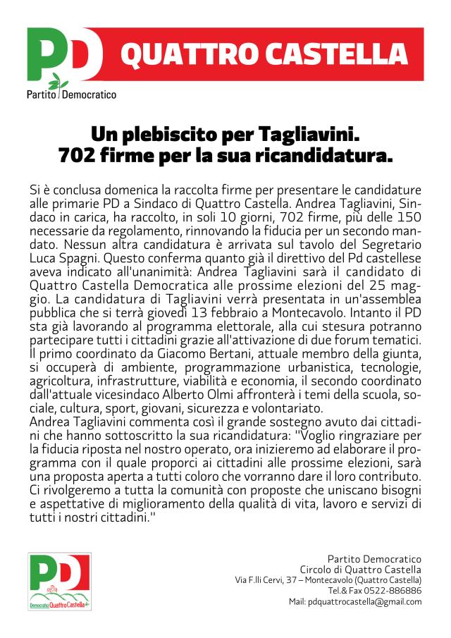 Un plebiscito per Tagliavini.  702 firme per la sua ricandidatura.