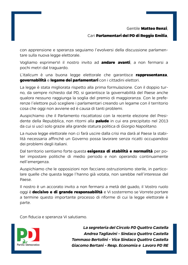 matteo renzi e parlamentari reggiani su Italicum